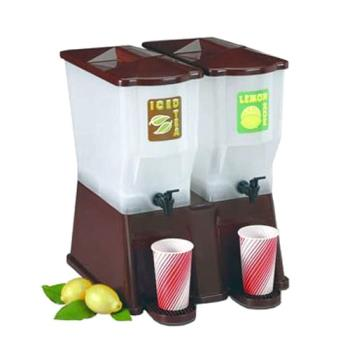 TABTW54DP - Tablecraft - TW54DP - 6 gal Brown Slimline Double Beverage Dispenser Product Image