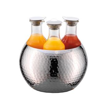 GETESC036E003 - GET Enterprises - ESC036E003 - 3-Carafe FRILICH Carafine™ Hammered Stainless Steel Tub with 3 Plastic Carafes Product Image