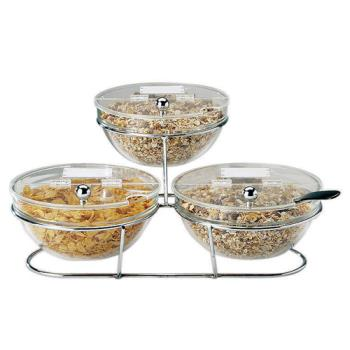WOR4144214 - World Cuisine - 41442-14 - 3-Compartment Chrome Plated Stand w/Small Bowls Product Image