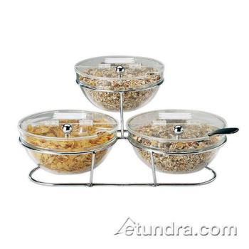 WOR4144223 - World Cuisine - 41442-23 - 3-Compartment Chrome Plated Stand w/Large Bowls Product Image