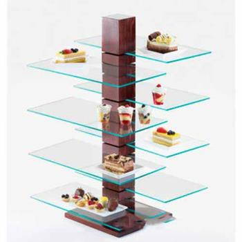 CLM831SQ - Cal-Mil - 831-SQ - 19 3/4 in x 10 in Glass Pillar Shelf Product Image