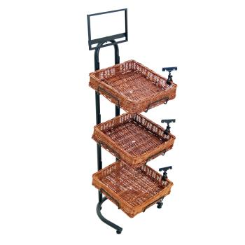 12119 - Commercial - 3-Tier Willow Basket Display Rack Product Image