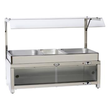 CDOCMLBCSG - Cadco - CMLB-CSG - Warming Cabinet with Sneeze Guard and Buffet Server Top Product Image