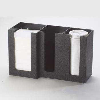 CLM37513 - Cal-Mil - 375-13 - 3 Section Black Napkin and Lid Dispenser Product Image