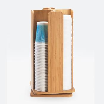 CLM37860 - Cal-Mil - 378-60 - 4 Section Bamboo Revolving Cup Dispenser Product Image