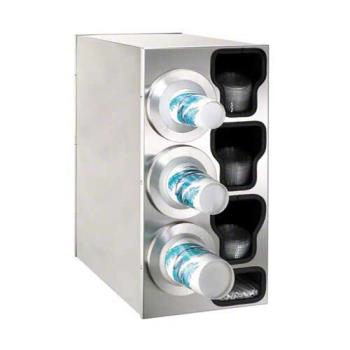 DRMBFLC3LSS - Dispense-Rite - BFL-C-3LSS - Stainless Steel Countertop Cup Dispensing Cabinet With (3) BFL-2F And Built In Lid And Straw Organizer Product Image