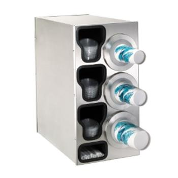 DRMBFLC3RSS - Dispense-Rite - BFL-C-3RSS - Stainless Steel Countertop Cup Dispensing Cabinet With (3) BFL-2F And Built In Lid And Straw Organizer Product Image