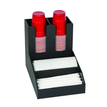 DRMCTCC2BT - Dispense-Rite - CTC-C-2BT - Black Polystyrene Countertop Cup Dispensing Cabinet With (2) ADJ-2F And Built In Lid And Straw Organizer Product Image