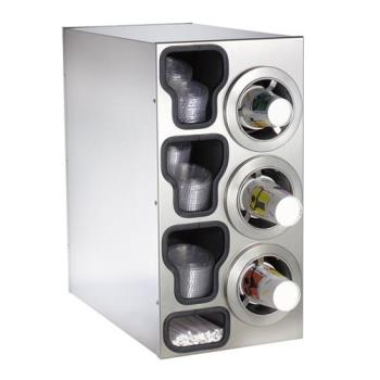 DRMCTCC3RSS - Dispense-Rite - CTC-C-3RSS - Stainless Steel Countertop Cup Dispensing Cabinet With (3) ADJ-2F And Built In Lid And Straw Organizer Product Image