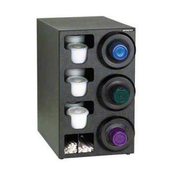 DRMSLRC3RBT - Dispense-Rite - SLR-C-3RBT - Black Polystyrene Countertop Cup Dispensing Cabinet With (3) SLR-2F And Built In Lid And Straw Organizer Product Image