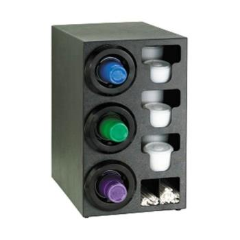 DRMSTLC3LBT - Dispense-Rite - STL-C-3LBT - Black Polystyrene Countertop Cup Dispensing Cabinet With (3) STL-2F And Built In Lid And Straw Organizer Product Image
