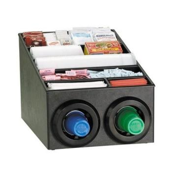DRMSTLSL2X1BT - Dispense-Rite - STL-SL-2X1BT - Black Polystyrene Countertop Cup Dispensing Cabinet With (2) STL-2F And Built In Lid And Straw Organizer Product Image