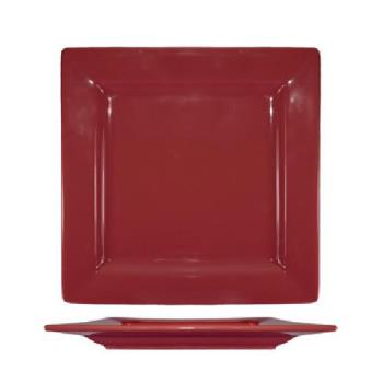 ITIEL40RH - International Tableware - EL-40-RH - 12 in Elite Harvest Red Square Plate Product Image