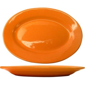 ITWCA12O - ITI - CA-12-O - 10 3/8 in x 7 1/4 in Cancun™ Orange Platter with Rolled Edging Product Image