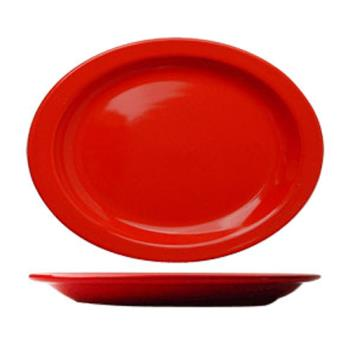 ITWCAN12CR - ITI - CAN-12-CR - 9 3/4 in x 7 in Cancun™ Crimson Red Platter With Narrow Rim Product Image