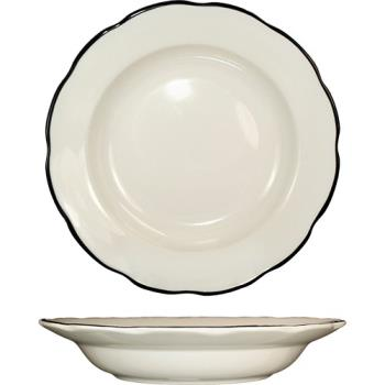 ITWSY105 - ITI - SY-105 - 18 Oz Sydney™ Pasta Bowl With Scalloped Edge and Black Band Product Image