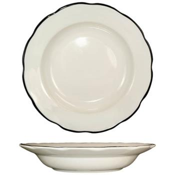 ITWSY115 - ITI - SY-115 - 22 Oz Sydney™ Pasta Bowl With Scalloped Edge and Black Band Product Image