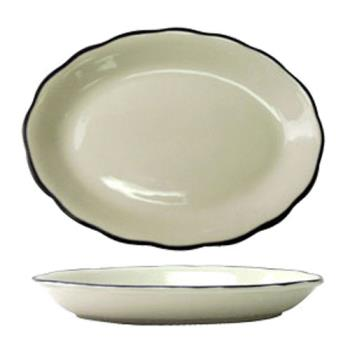 ITWSY12 - ITI - SY-12 - 9 7/8 in x 7 1/4 Platter With Scalloped Edge and Black Band Product Image