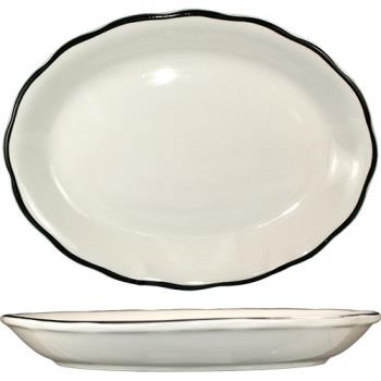 ITWSY33 - ITI - SY-33 - 7 in x 5 1/4 Platter With Scalloped Edge and Black Band Product Image