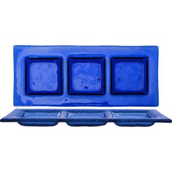 ITWIGPB311 - ITI - IGPB3-11 - 11 in x 4 1/2 Arctic Glacier™ Blue Glass 3 Compartment Plate Product Image