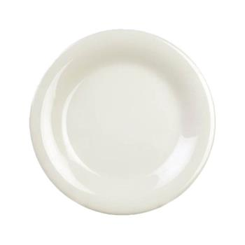 "THGCR006V - Thunder Group - CR006V - 6 1/2"" Ivory Wide Rim Round Plate Product Image"
