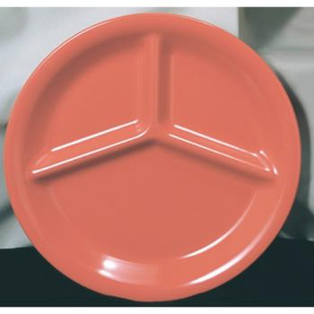 "THGCR710RD - Thunder Group - CR710RD - 10 1/4"" Red-Orange 3-Compartment Plate Product Image"