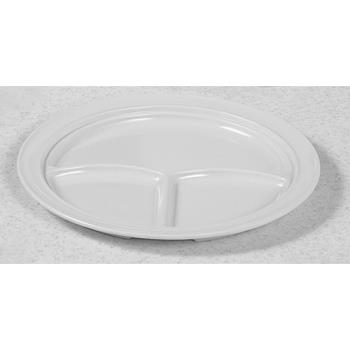 "THGNS703W - Thunder Group - NS703W - 10 3/16"" Nustone White 3-Compartment Plate Product Image"