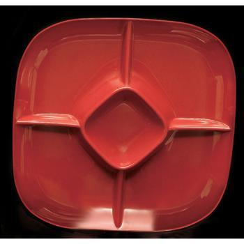 "THGPS1515RD - Thunder Group - PS1515RD - 15"" Passion Red Chip & Dip Platter Product Image"
