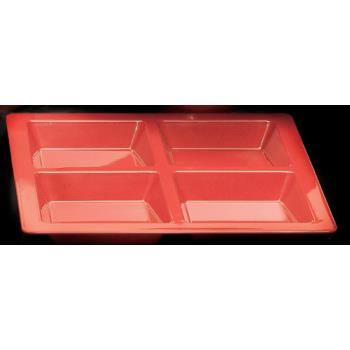 THGPS5104RD - Thunder Group - PS5104RD - Passion Red 4 Section Square Compartment Tray Product Image