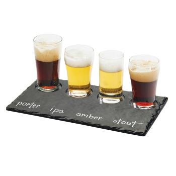 CLM350065M - Cal-Mil - 3500-65M - Write-On Faux Slate Beer Flight Taster Board Product Image