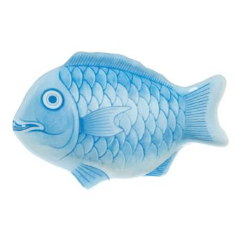 "THG1000CFB - Thunder Group - 1000CFB - 10"" Blue Fish Shape Melamine Platter Product Image"