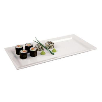"WOR4484235 - World Cuisine - 44842-35 - 14"" x 7 1/8"" White Melamine Sushi Tray Product Image"