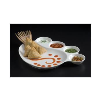 AMMCSP4 - American Metalcraft - CSP4 - Prestige™ 12 1/2 in Porcelain Plate w/(4) Sauce Cups Product Image