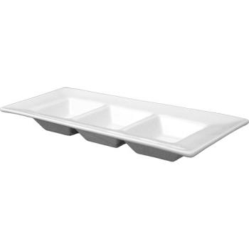 ITWFA33 - ITI - FA-33 - 10 1/4 in x 4 1/8 in Rectangular Three Compartment Sauce Plate Product Image