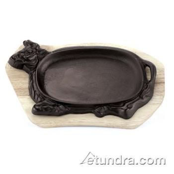 "WOR4961501 - World Cuisine - 49615-01 - 13 1/8"" x 8 5/8"" Cast Iron Sizzling Platter Set Product Image"