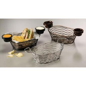 AMMBNBC962 - American Metalcraft - BNBC962 - Oblong Chrome Birdnest Basket w/Ramekin Holders Product Image