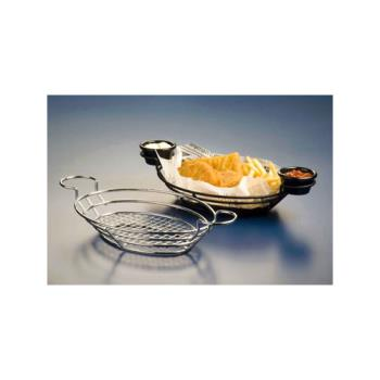 AMMBSKC118 - American Metalcraft - BSKC118 - Oval Chrome Wire Basket with Ramekin Holders Product Image