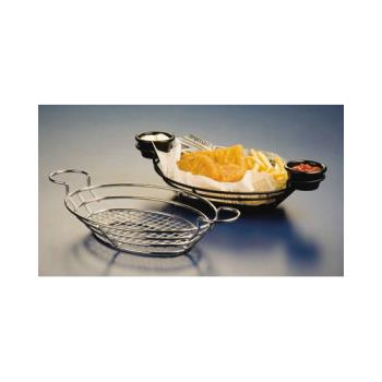 AMMSSOV1180 - American Metalcraft - SSOV1180 - Oval Stainless Wire Basket w/Ramekin Holders Product Image