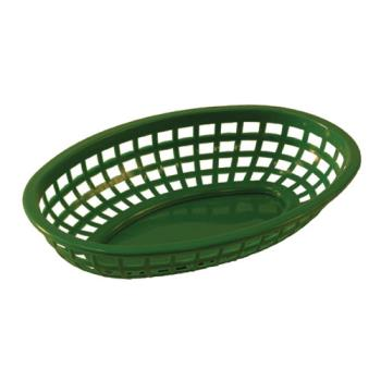 86376 - Tablecraft - 1074G - Oval Green Plastic Baskets Product Image