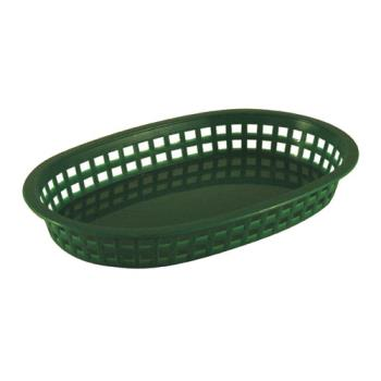 86396 - Tablecraft - 1076G - Oval Green Plastic Platter Baskets Product Image