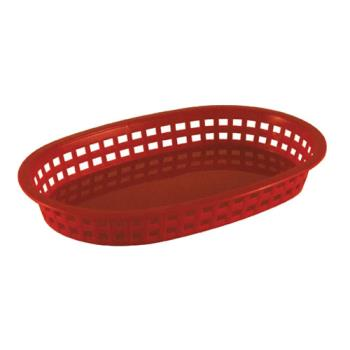 86395 - Tablecraft - 1076R - Oval Red Plastic Platter Baskets Product Image