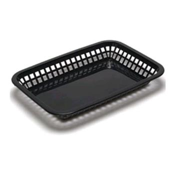 85694 - Tablecraft - 1079BK - Rectangular Black Plastic Platter Basket Product Image