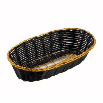 WINPWBK9B - Winco - PWBK-9B - Oblong Black/Gold Woven Basket Product Image