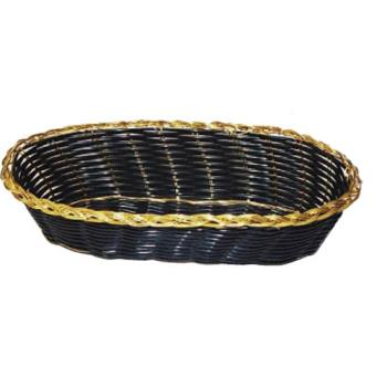 WINPWBK9V - Winco - PWBK-9V - Oval Black/Gold Woven Basket Product Image