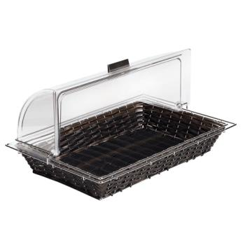 "WOR4246111 - World Cuisine - 42461-11 - 12 3/4"" x 20 7/8"" Black Polyrattan Bread Basket Product Image"