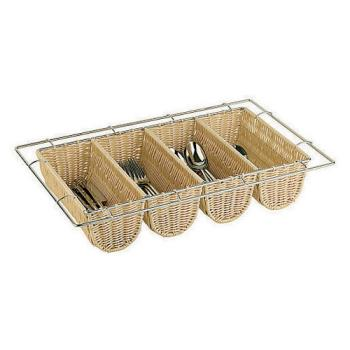 WOR4258404 - World Cuisine - 42584-04 - 4-Compartment Polyrattan Flatware Basket Product Image