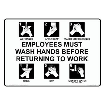 83126 - Commercial - 7 in x 5 in Employee Hand Washing Sign Product Image