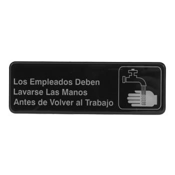38559 - Tablecraft - 394545 - 3 in x 9 in Spanish Employee Hand Wash Sign Product Image
