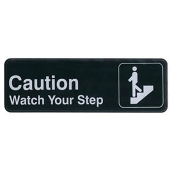 WINSGN326 - Winco - SGN-326 - 3 in x 9 in Caution/Watch Your Step Sign Product Image