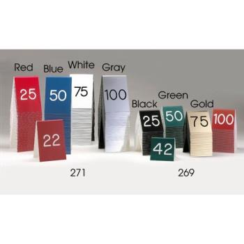 "CLM271A1 - Cal-Mil - 271A-1 - 3 1/2"" x 5"" Red/White Number Tent Set (1-25) Product Image"